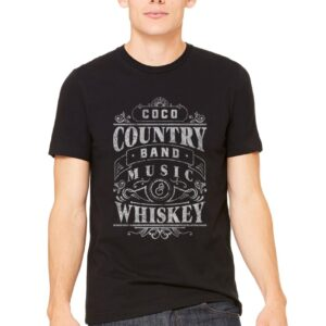 chandail-t-shirt-hommes-manches-courtes-gris-coco-country-band-noir